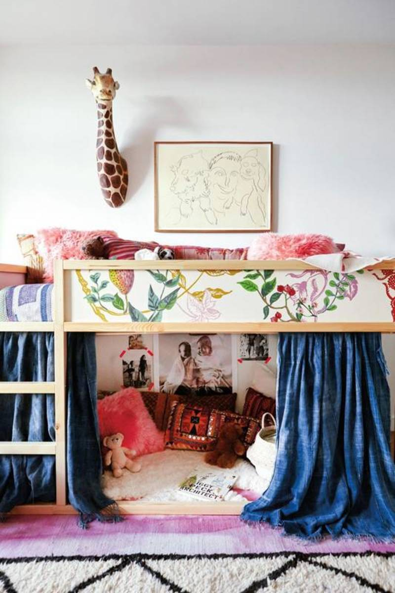 A lofted bed with a secret reading nook.