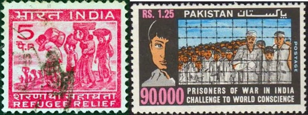 Appeal through postage stamps - India(L) & Pakistan(R)