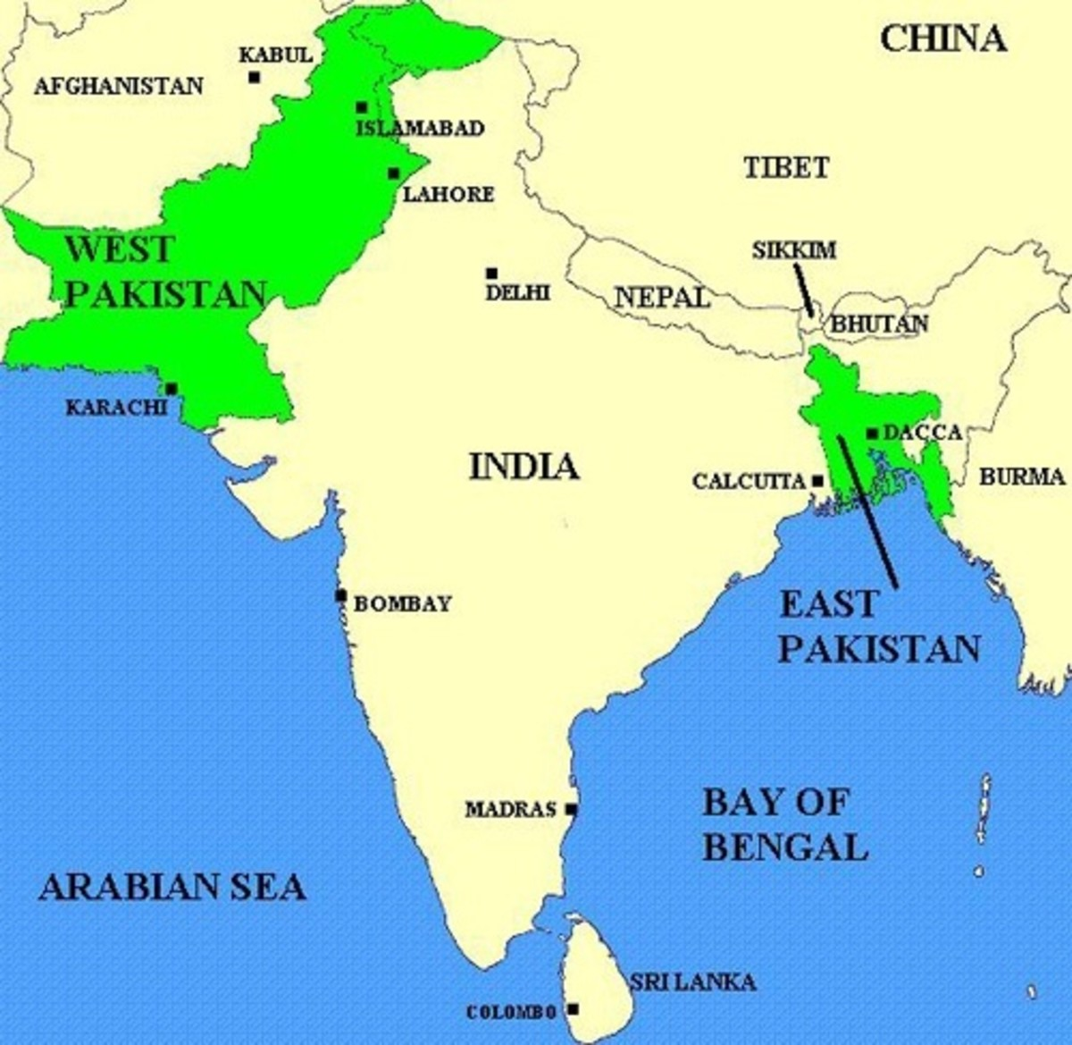Map highlighting the geographical separation of East & West Pakistan