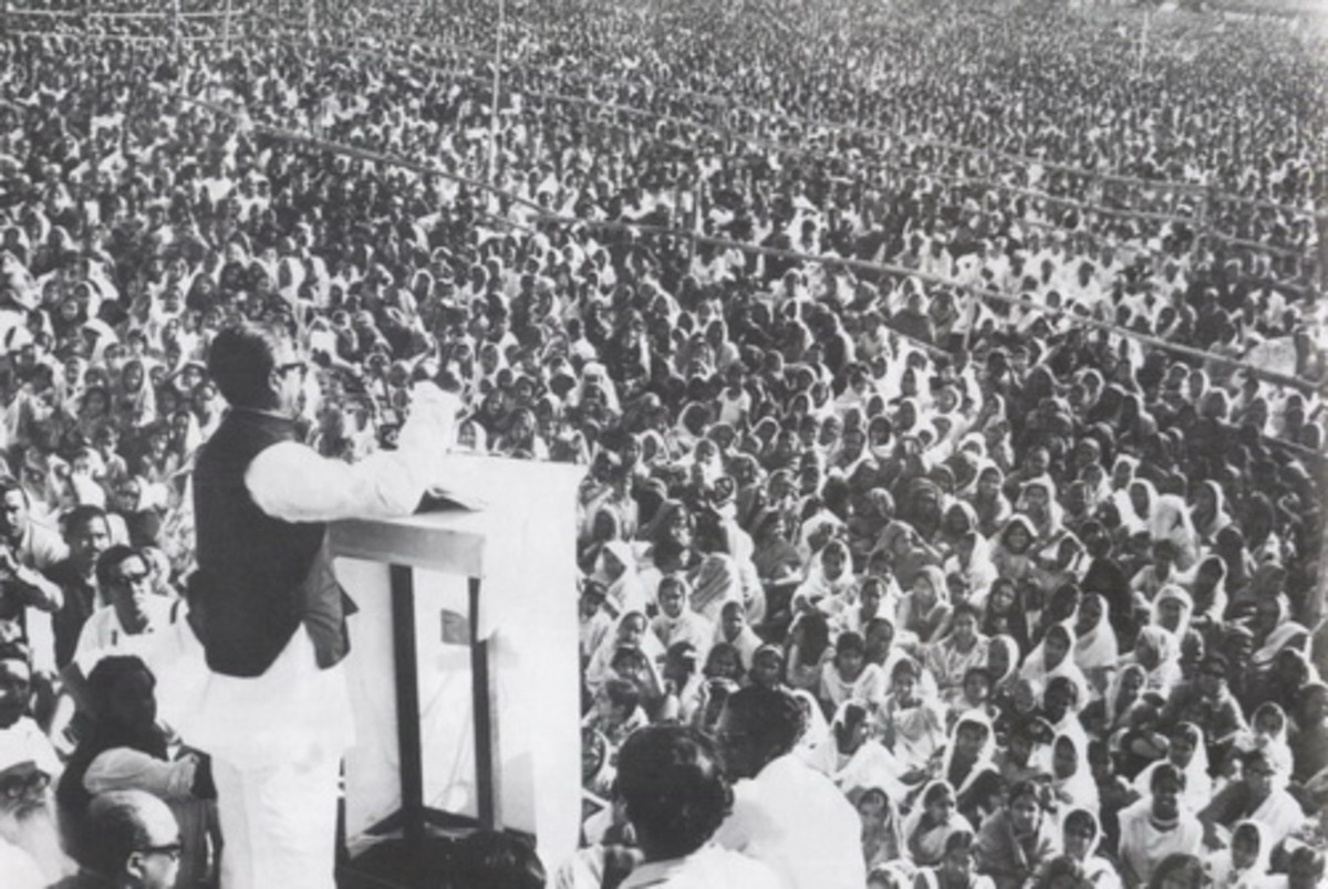 "Sheikh Mujib aka Bangbandhu delivering his iconic  7th March,1971 speech -                           ""The struggle this time is for our freedom. The struggle this time is for our independence""."