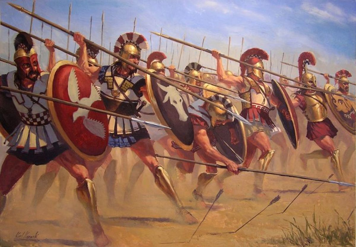 Here we see a more open formation that was probably more practical since it allowed hoplites ample room to fight as well as decent protection from being a spears length away from an ally.