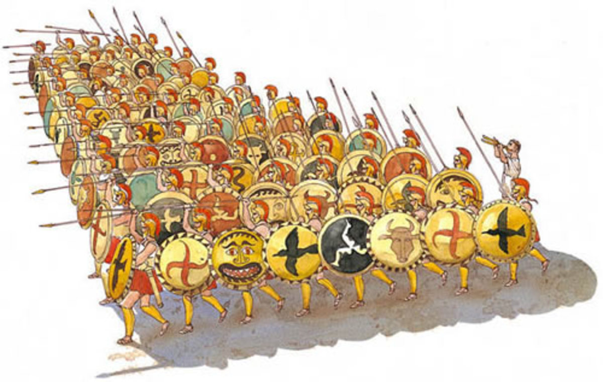 The typical Greek phalanx consisted of hoplites in a mass formation with all depending on their fellow hoplites around them. The average length was about eight men deep, and cavalry and light armed troops would accompany the phalanx.