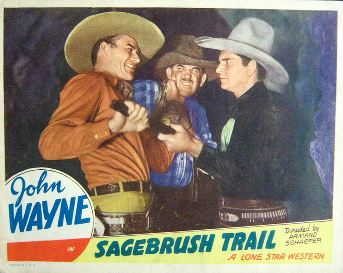 "Lobby card from the 1933 film ""Sagebrush Trail."""