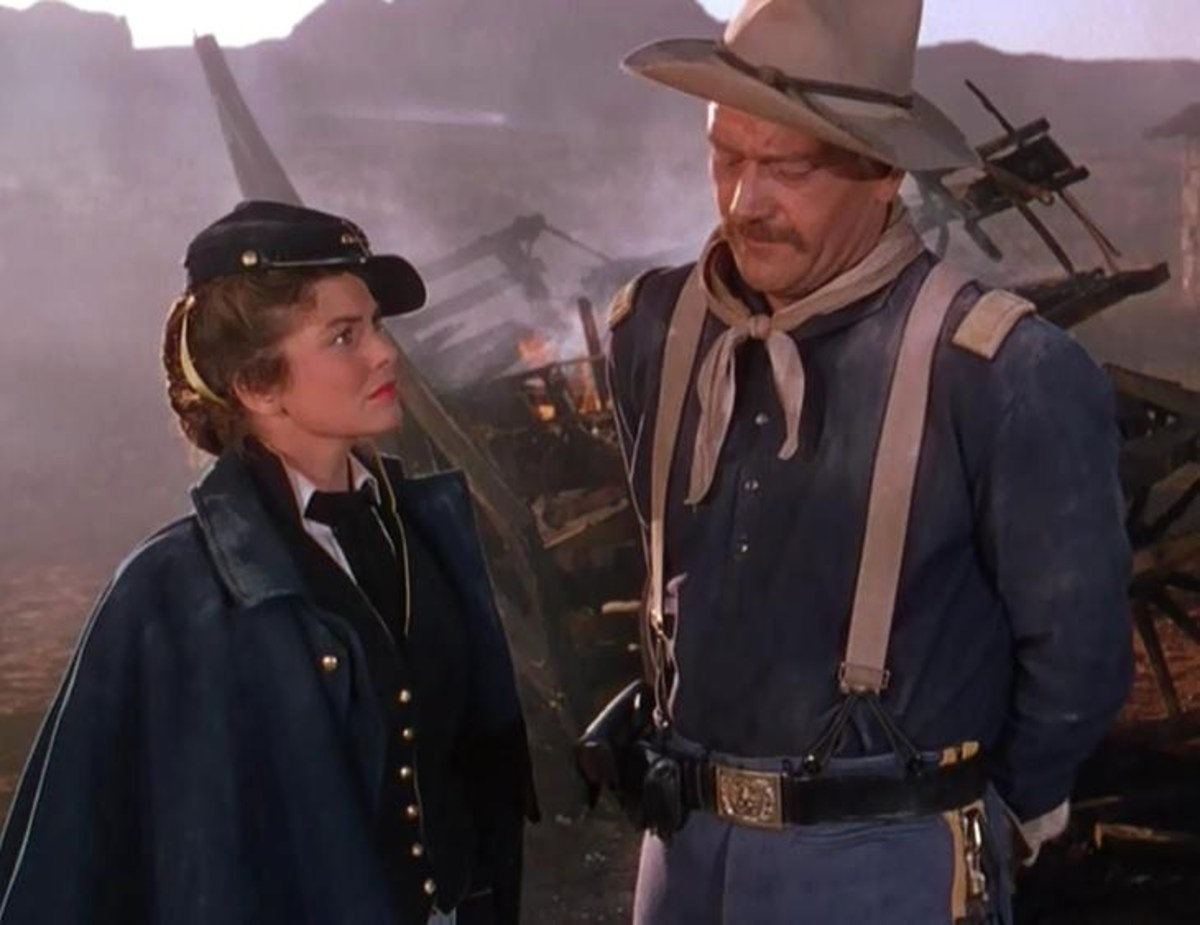"Joanne Dru and John Wayne, trailer screenshot from ""She Wore a Yellow Ribbon."""