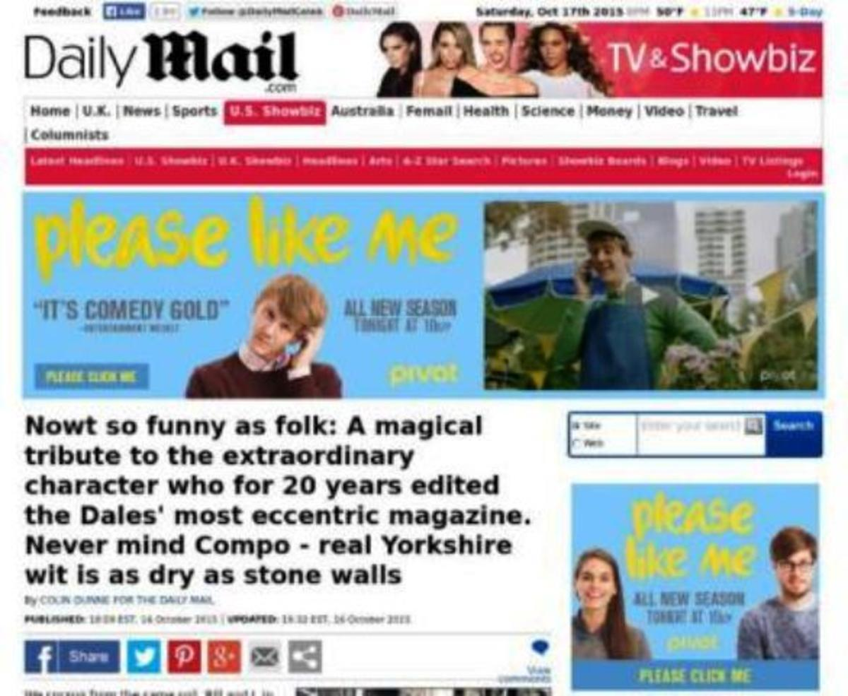 The 'Daily Mail' tribute to Dalesman editor and journalist Bill Mitchell. The 'Dalesman' magazine and associated books are read far and wide, beyond the bounds of Yorkshire's western hilly - and in parts mountainous - extremes