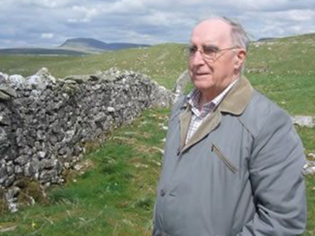 Bill Mitchell, editor of The Dalesman passed away October, 2015 aged 87 - seen here in the heart of the Dales with its dry stone walls, villages tucked away between high hills, sheep and tall peaks such as Great Whernside, Pen y Gent and Ingleborough