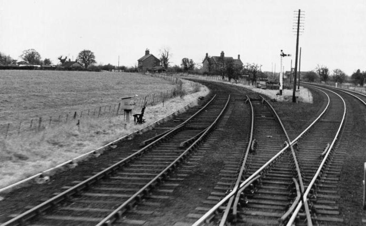 Looking south at Mill Lane Jct., with the Forge Valley line lifted just past the junction. The line to Rillington Jct. is ahead (February, 1965)