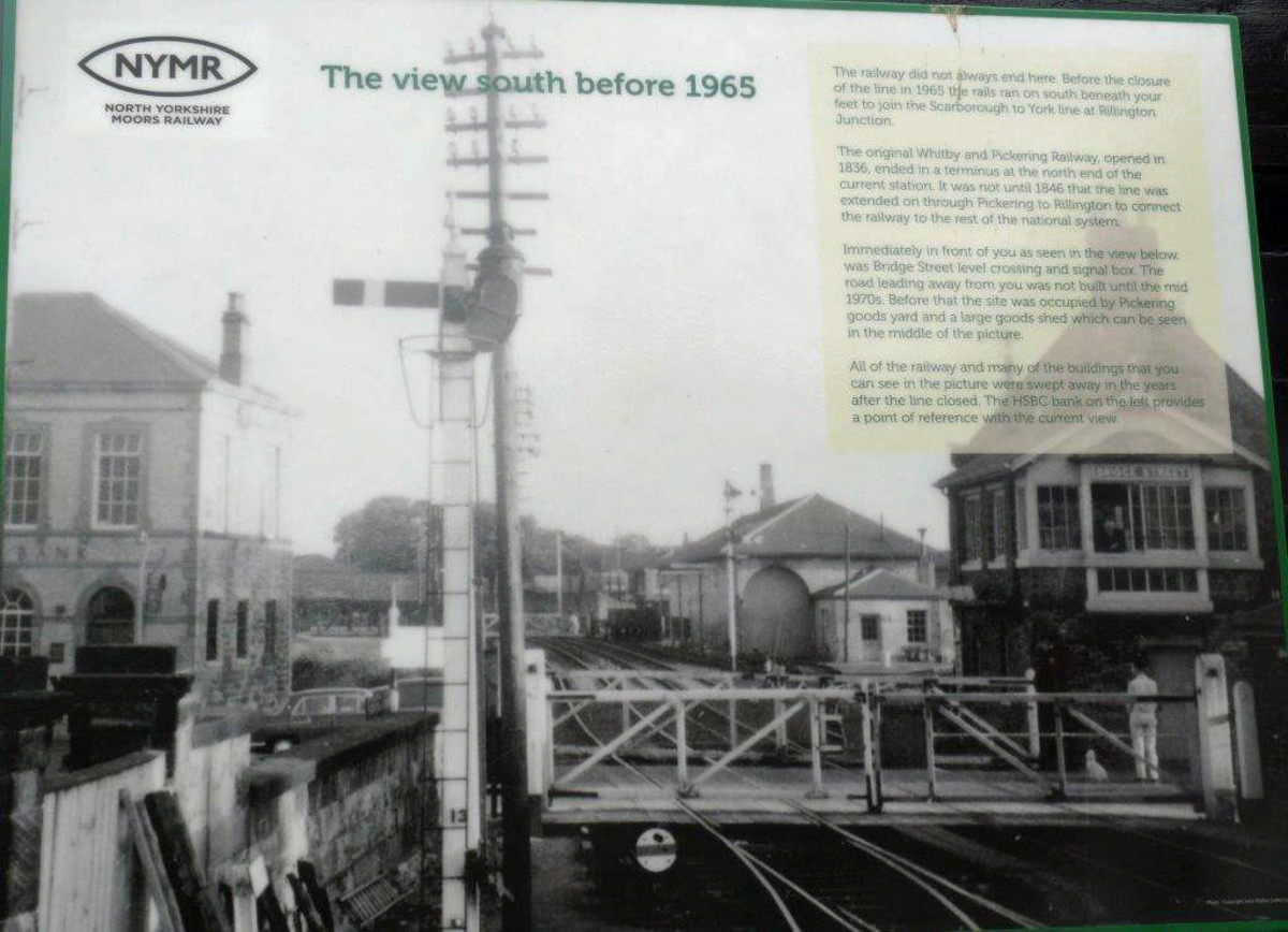 The view south from Pickering Station - display board at the south end of the station shows the scenery as it was before closure early in 1965