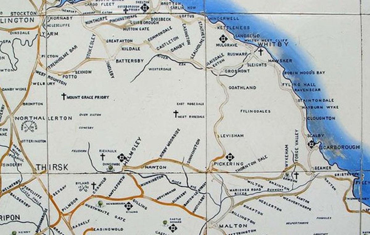 North Eastern Railway tile map shows the Pickering area. More important stations such as Whitby Town, Pickering, Scarborough Central, Malton and Helmsley had one on the wall near an exit for travellers to plan their  journeys.