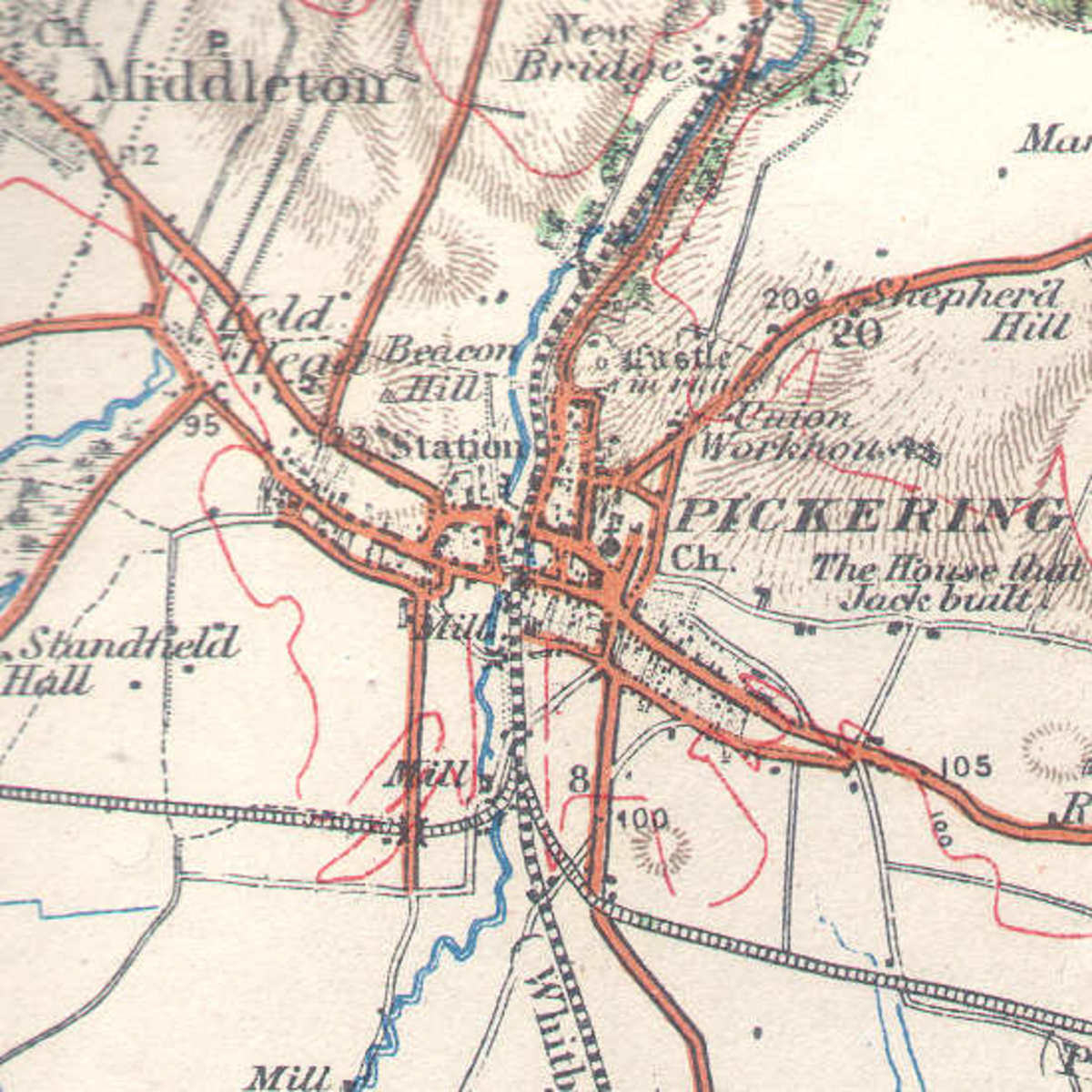 Pickering railways, 1914 map shows the routes south from the station. To the west was Helmsley; south was Rillington Junction for Malton and York; east was the Forge Valley line to Seamer and Scarborough