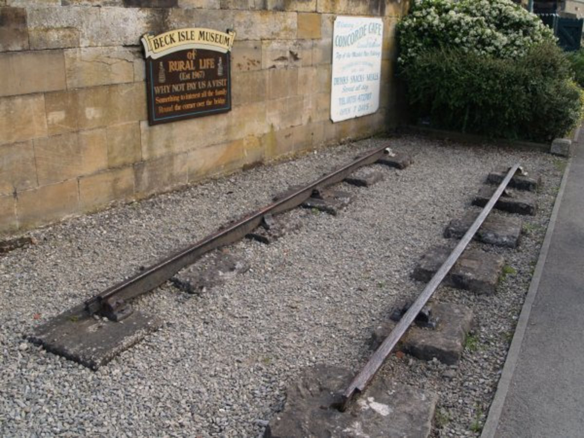 A section of  original W&PR 'fish-belly' rail found at Pickering Station - this has been embedded within the station wall by the southern end of the rails at Pickering Station