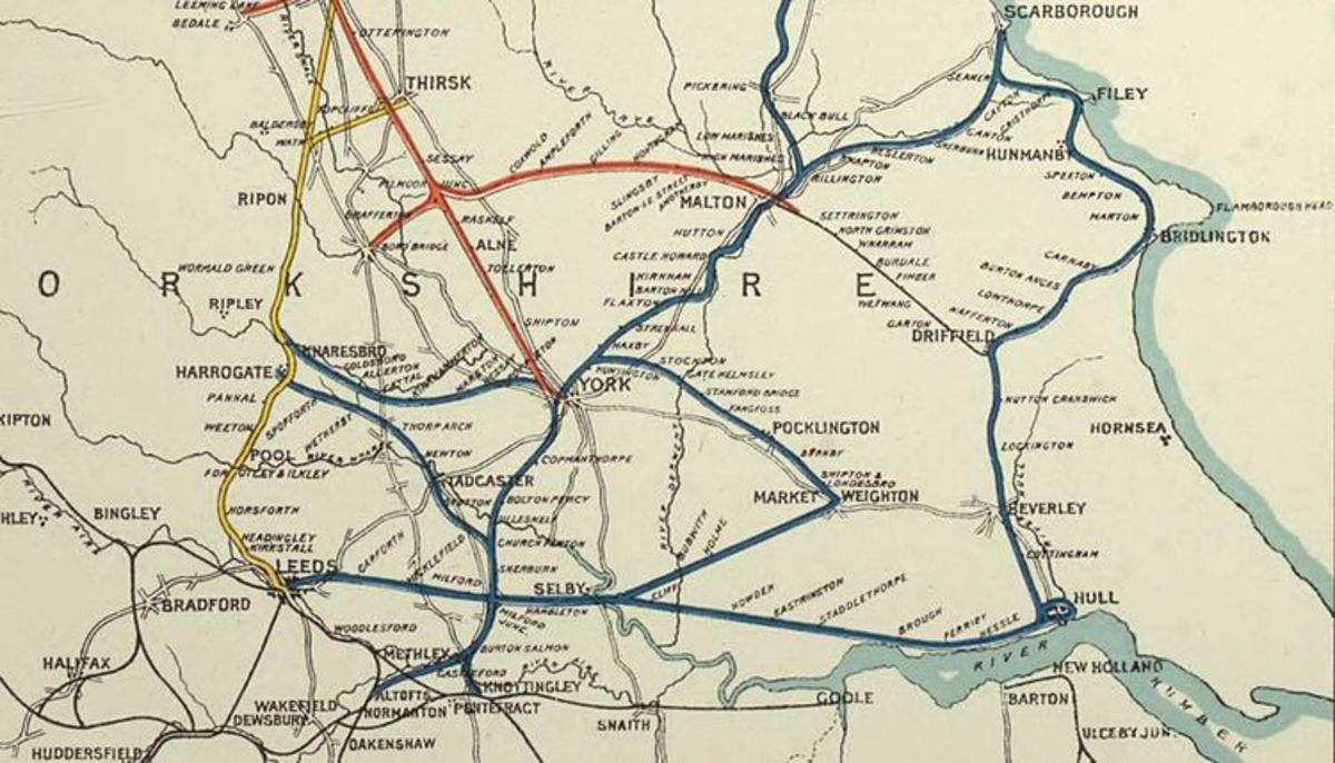 The York & North Midland Railway's routes fanned out from York. Pickering was eventually serviced by way of Malton and Rillington Junction by 1845. Both the Whitby & Pickering and Y&NMR were part of George Hudson's 'empire'