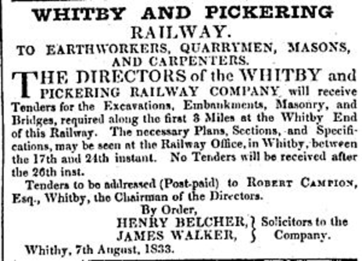 August 1833 - Tender notice for contractors to bid on the first section of the Whitby & Pickering Railway.