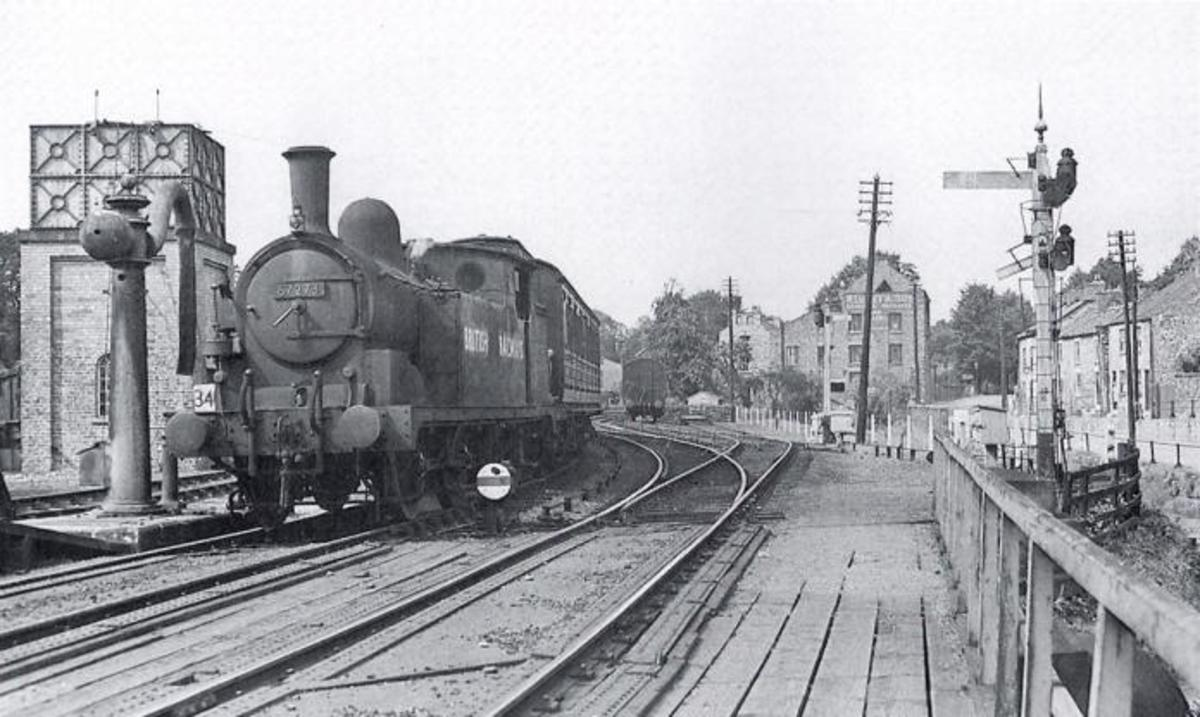 NER Class O, LNER/BR Class G5 0-4-4 tank locomotive 67273 allocated to Malton shed (50F) in 1950-59 approaches Pickering Station from the north
