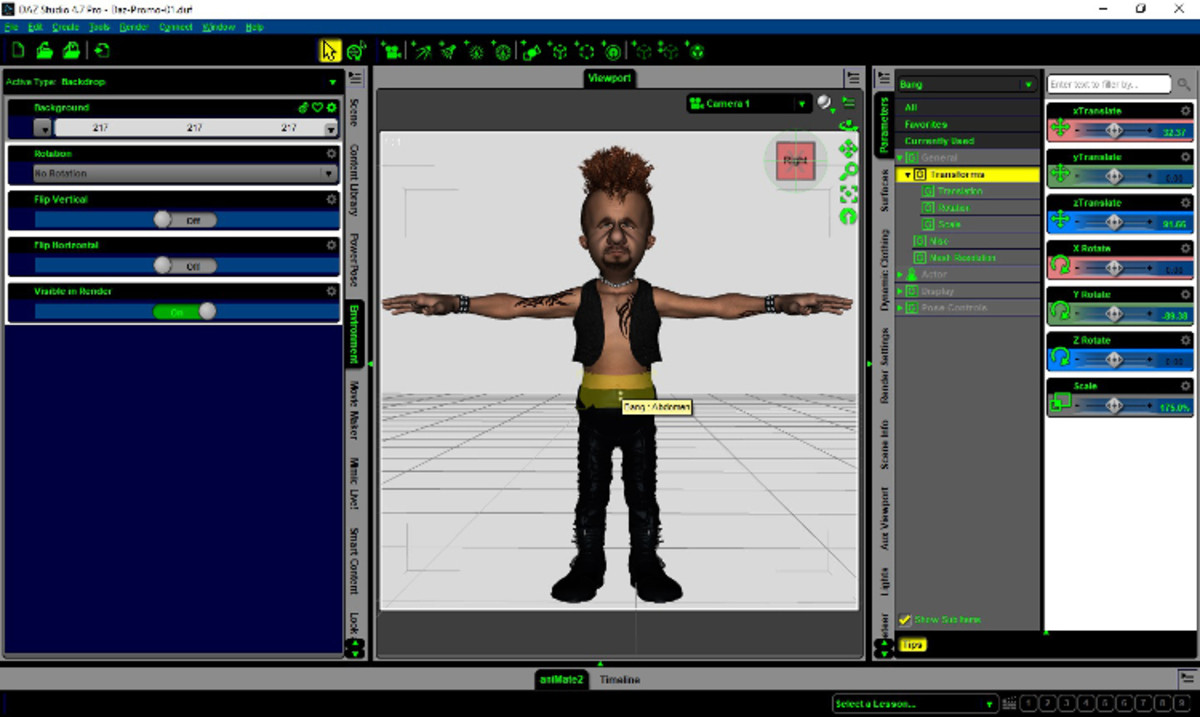 One of the characters from the Punksters.net Comic Strip Series within DAZ Studio.
