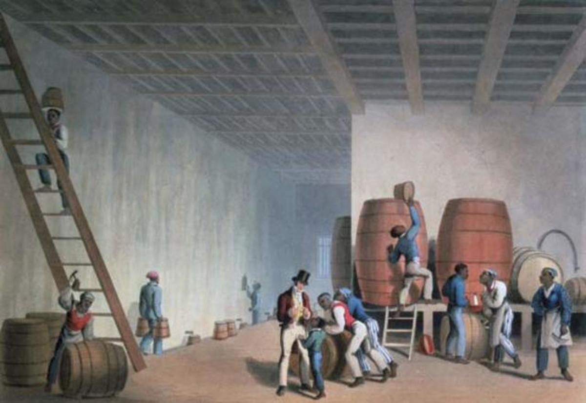 Slaves loading rum barrels in Antigua, from drawings made by William Clark, 1823