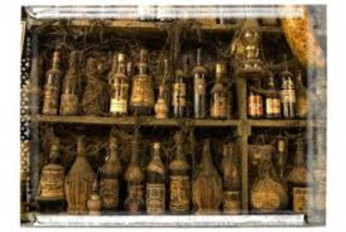 Old rum bottles in Greece