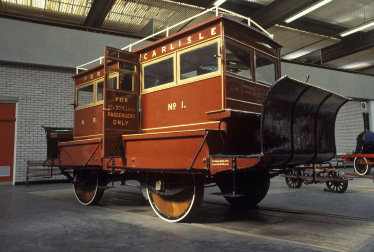 The preserved Port Carlisle 'Dandy' car seen here in close-up at the National Railway Museum, York