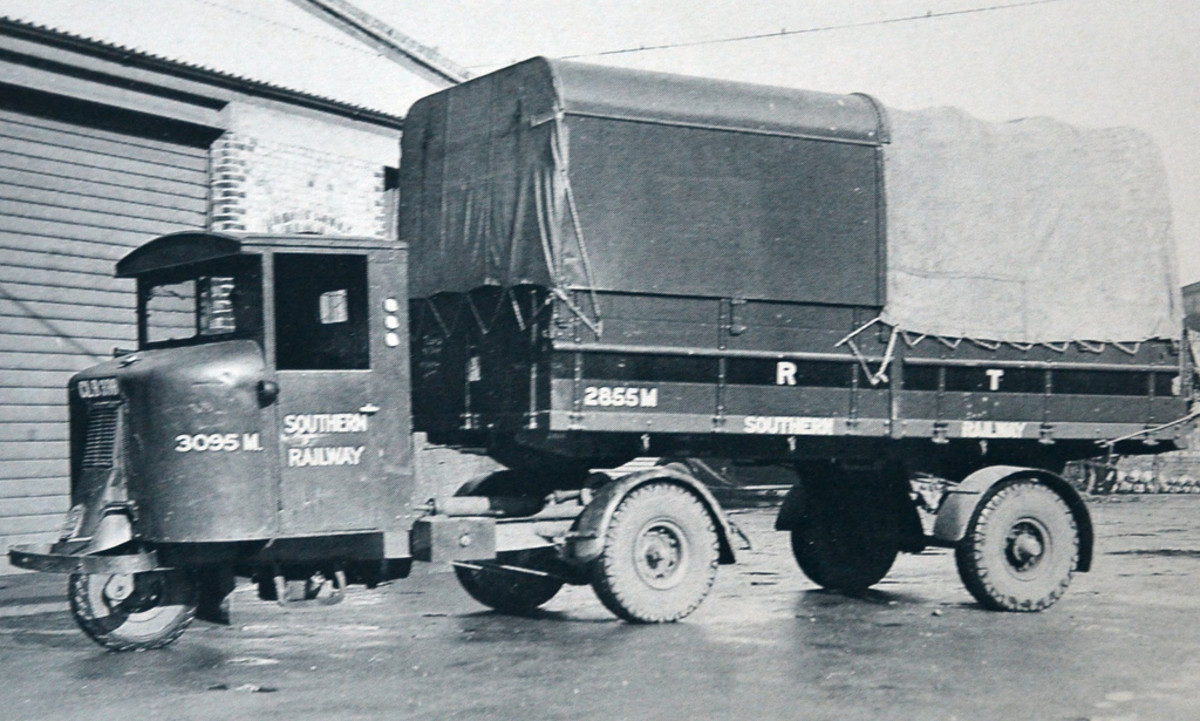 A 1936 Southern Railway-owned Scammell 'Scarab' mechanical horse, a three-wheeled tractor unit for tight curves with fittings to take a divers range of two-wheeled trailers and release them for unloading at clients' premises