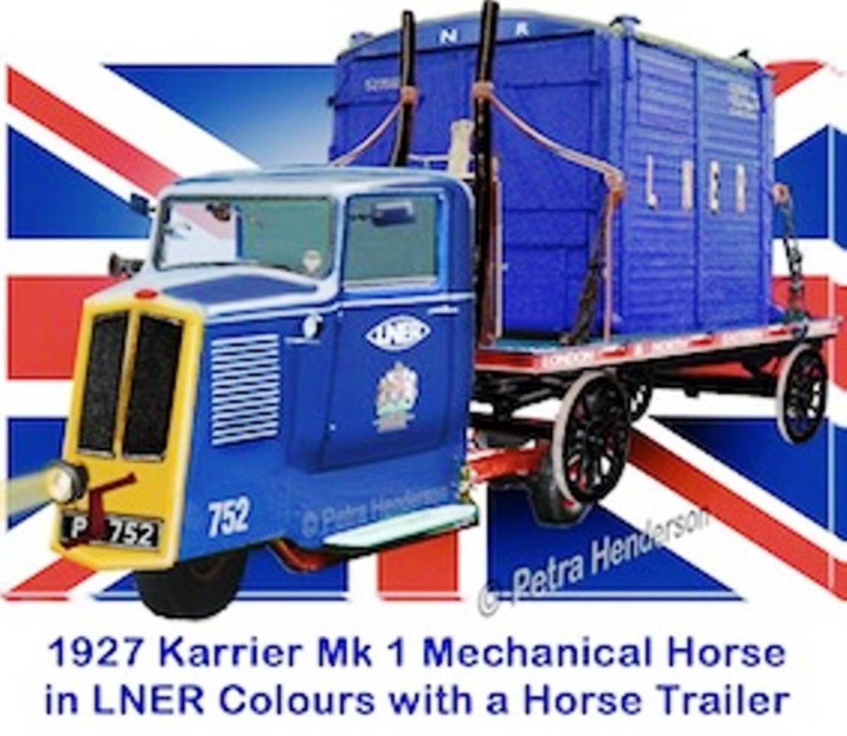 A model of a PCH 1927 Karrier mechanical horse in LNER livery. These vehicles were furnished with narrow, tapering cabs and engine housing