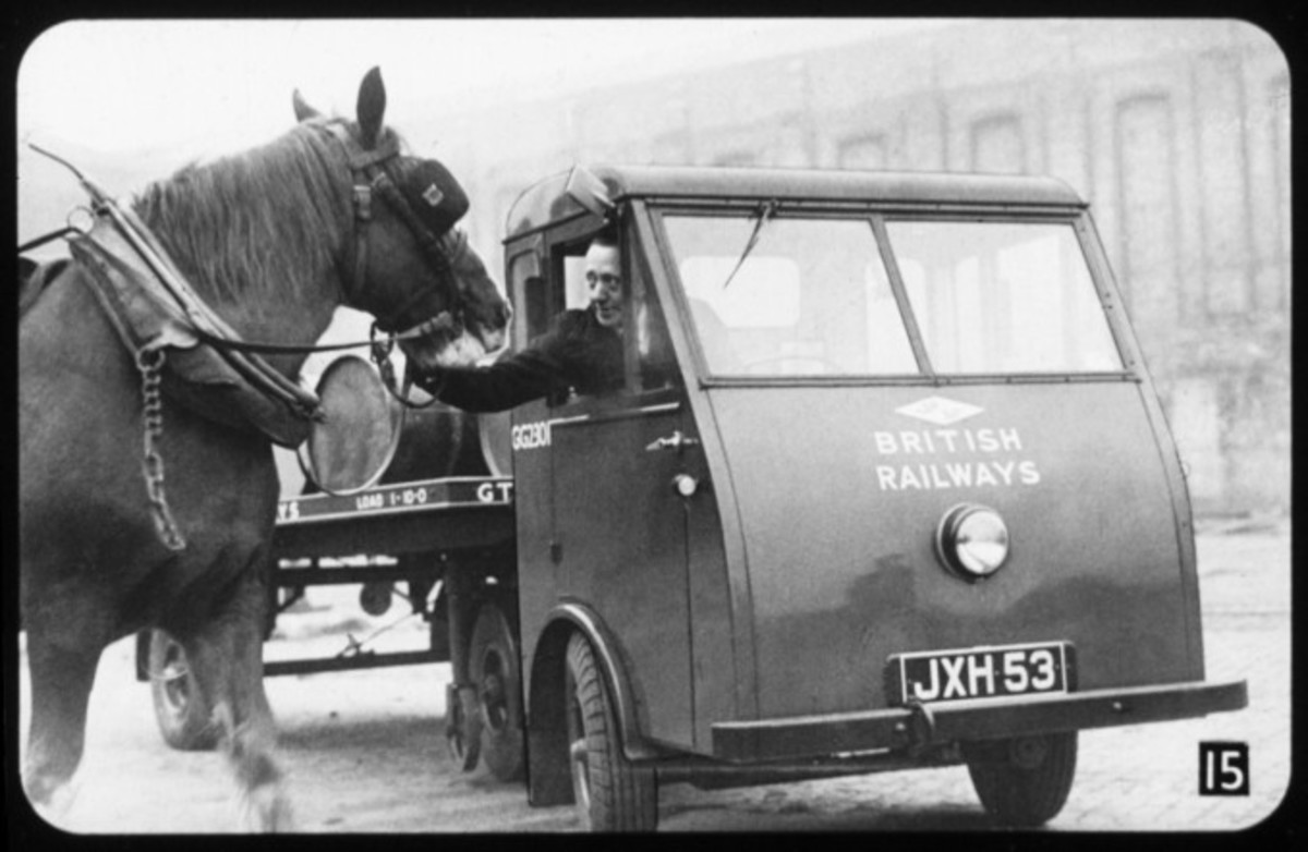Four-legged horse meets mechanical horse - the driver greets the horse, possibly his charge before being transferred to the motor pool
