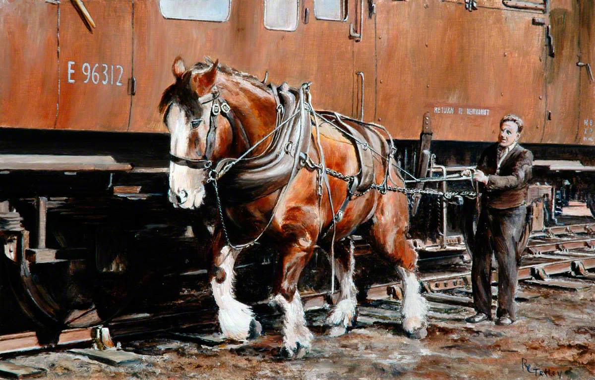 'Charlie', the last shunting horse based at Newmarket, Suffolk, seen here with his handler 'Lol' (Lawrence) Kelly before retirement in 1967. Painting by R Tetley
