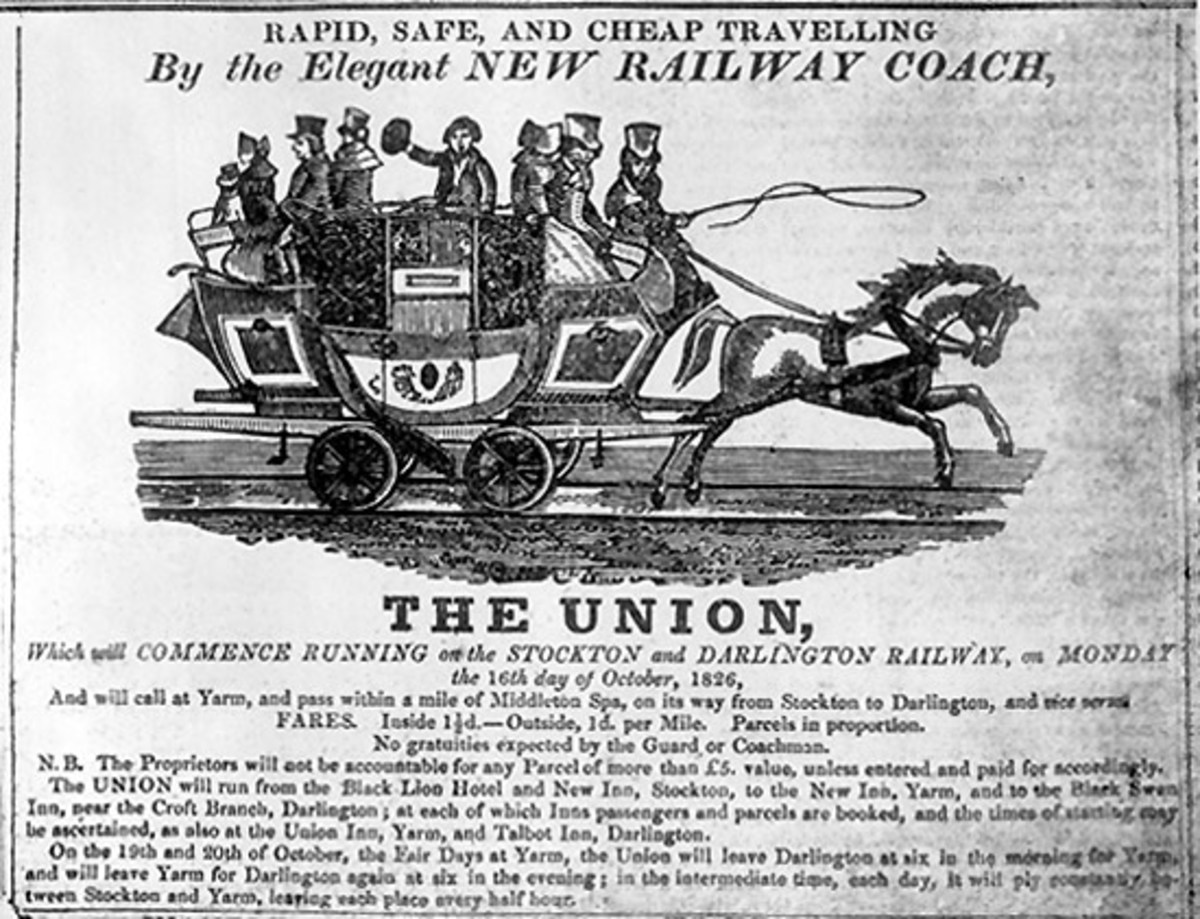 'The Union', one of the Stockton & Darlington Railway's horse-drawn railway coaches resembled the mail coaches that still ran on poorly maintaind roads