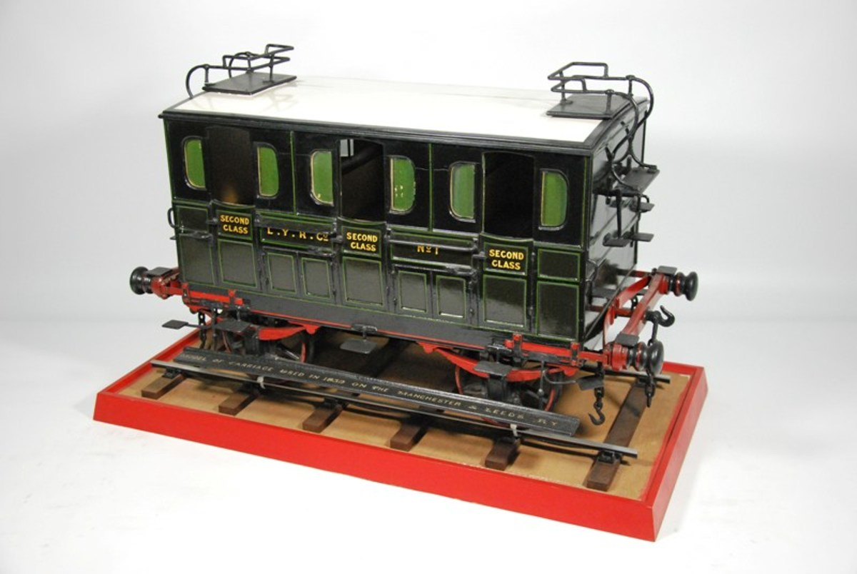 Scale model of an S&DR horse-drawn 2nd Class carriage. A full-sized one can be seen at 'Head of Steam', the North Road Station Museum, Darlington