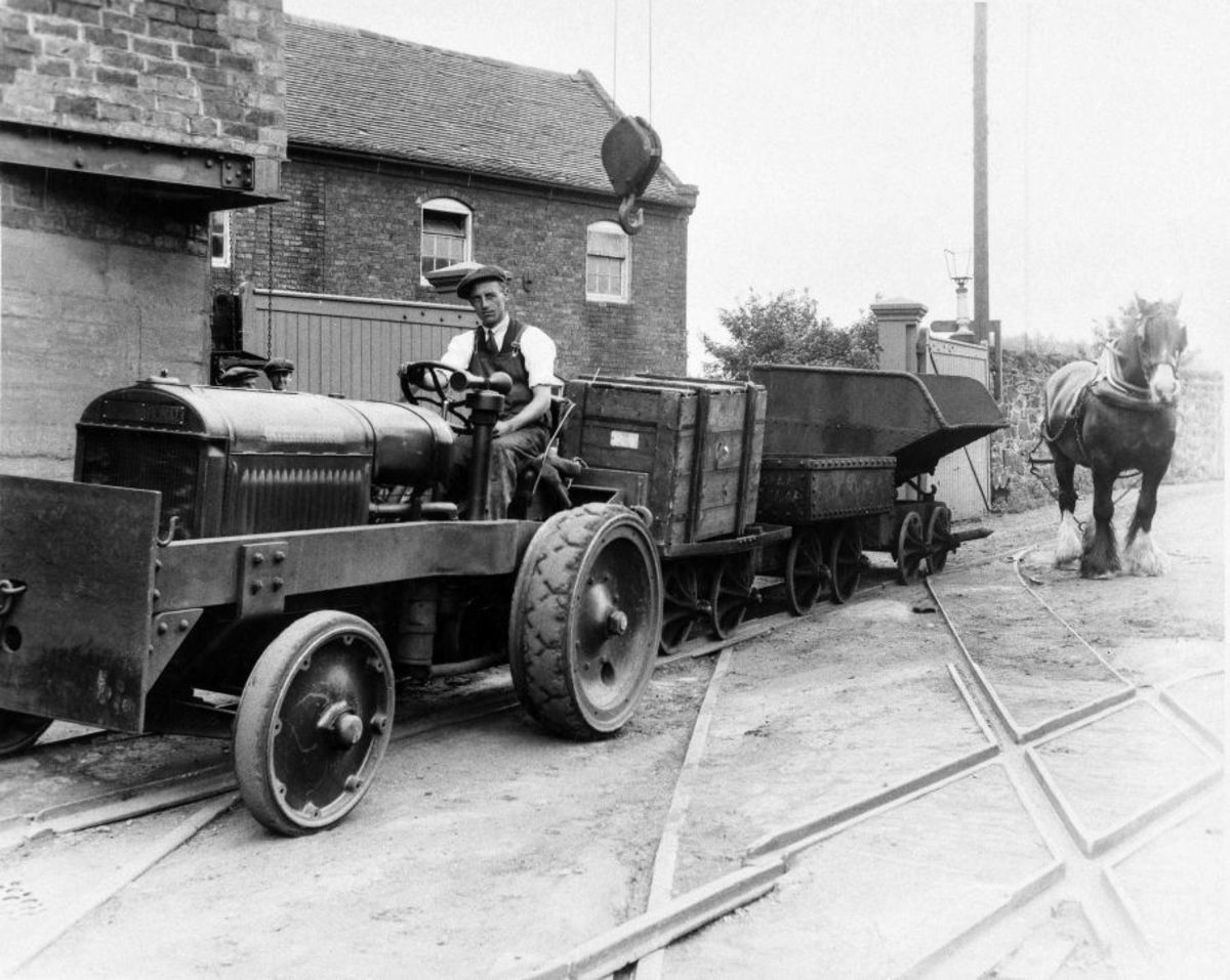 Shunting with trace horse and International tractor, a test of team work at Horsehay Iron Works, Shropshire