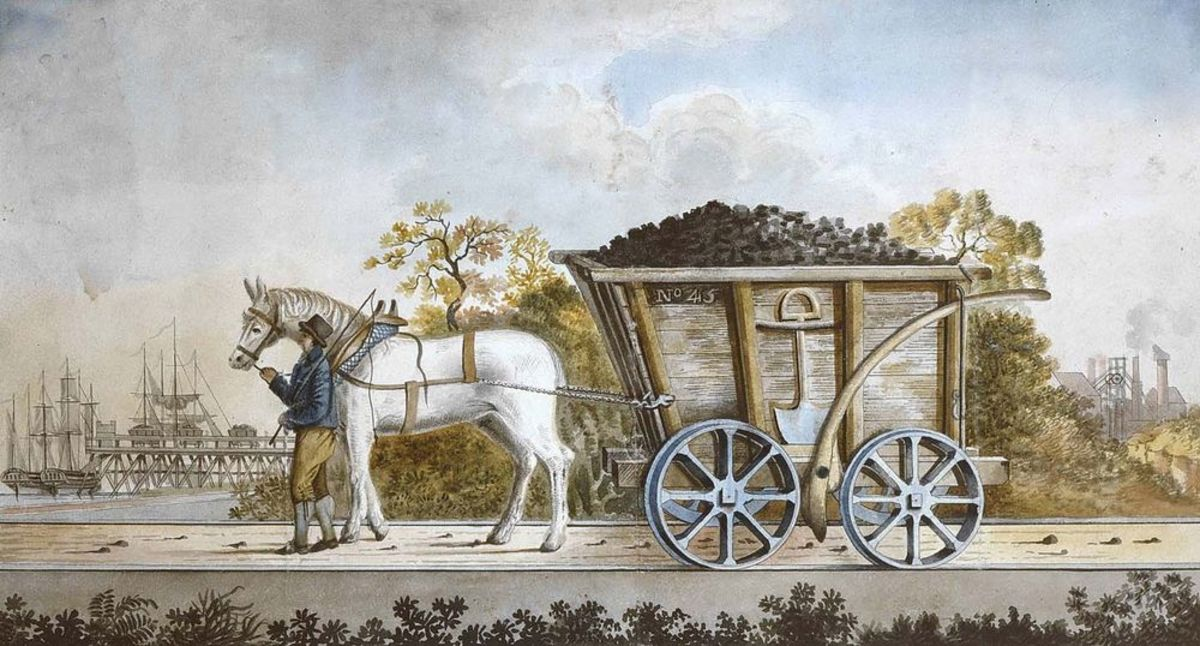Period painting of a Neilston Bank chaldron wagon (western Scotland) with coal load for shipping from the Clyde