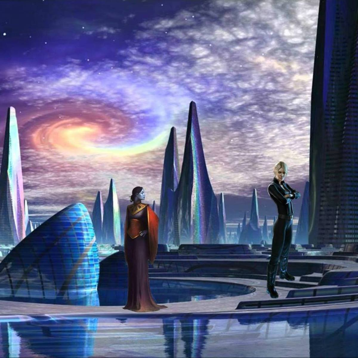 This illustration depicts an experience Elena had with one of the leaders of the El Race, descendants of the ancient Builder Race, named Anaya, in the future on Earth.