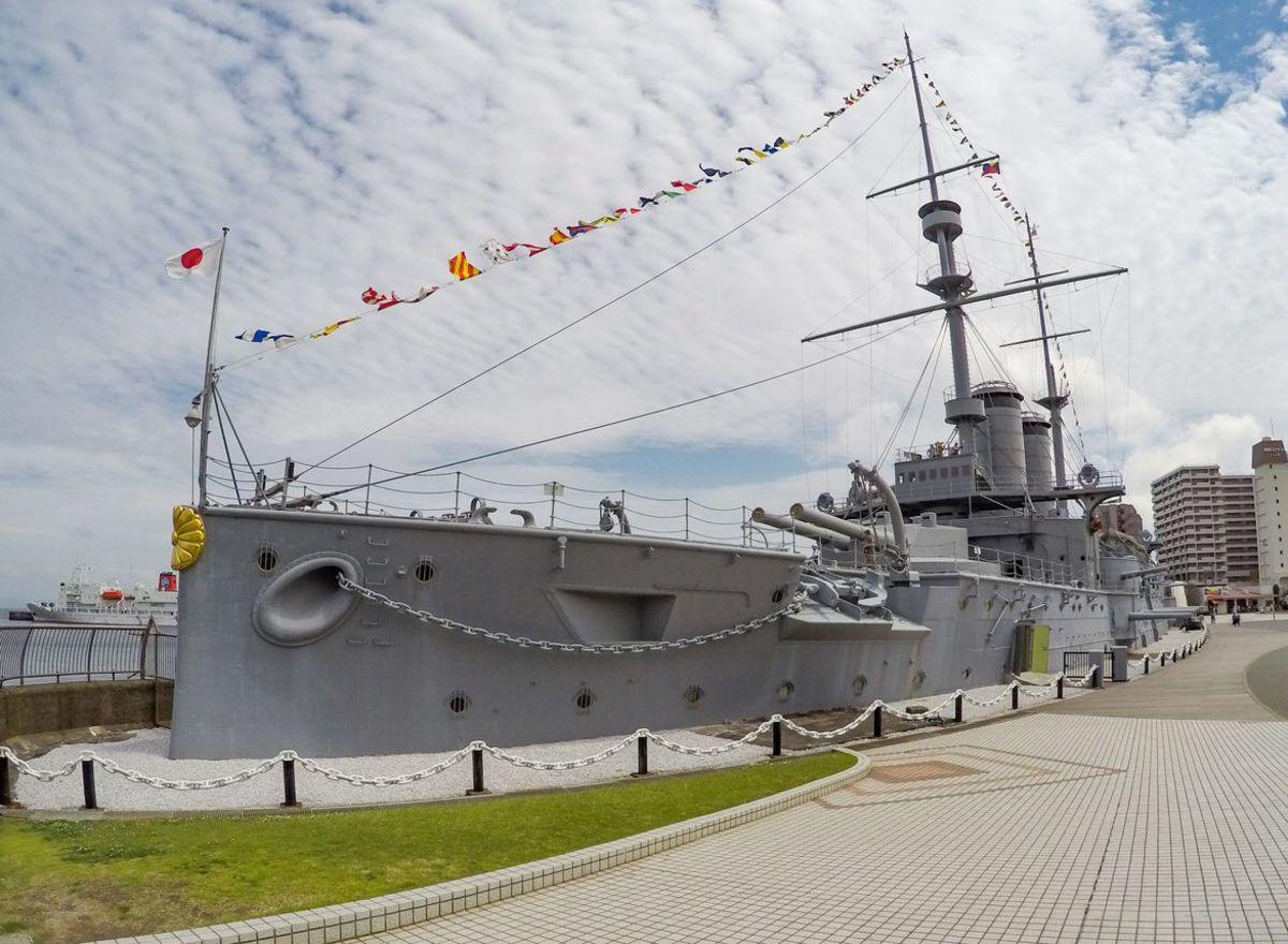 The landlocked battleship Mikasa.