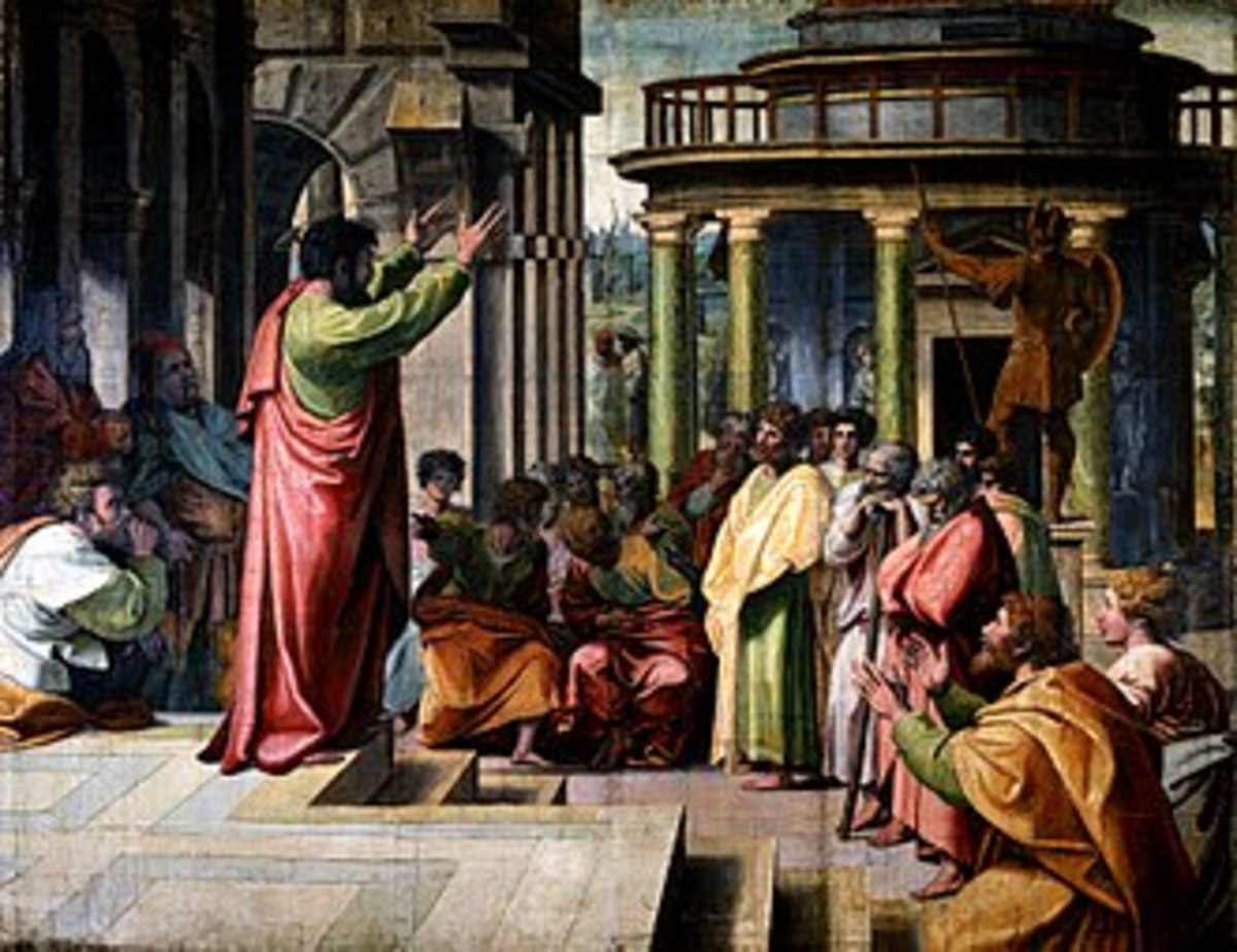 Paul delivering the Areopagus sermon in Athens - Raphael