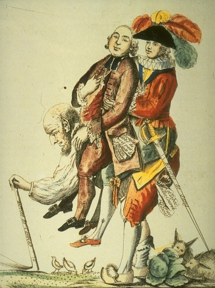 """The commoners in France were tired of """"carrying"""" the clergy and nobility, as is depicted in this drawing.  They finally revolted and demanded that the absolute monarchy be dismantled."""