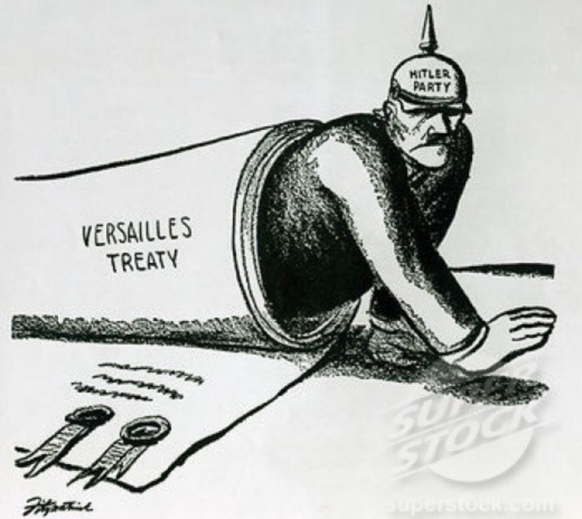 A fairly obvious cartoon : it is thanks to Versailles that Hitler could come to power in Germany, like a monster emerging from the barrel of some gun.