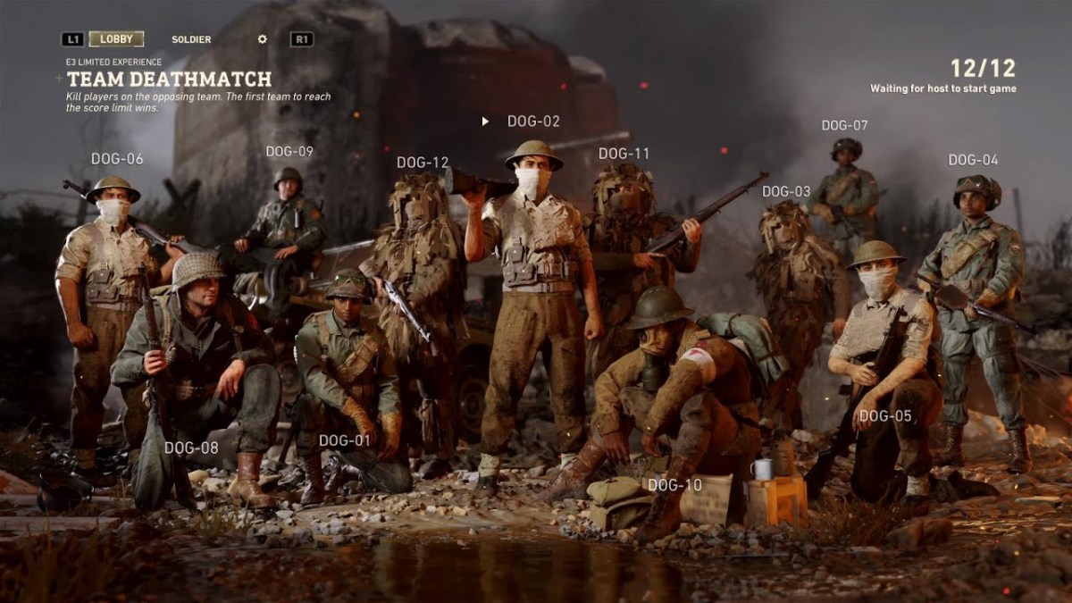 Image screenshot of Call of Duty: WWII's multiplayer matchmaking screen - now you can enter the headquarters space whilst you wait for the match to load