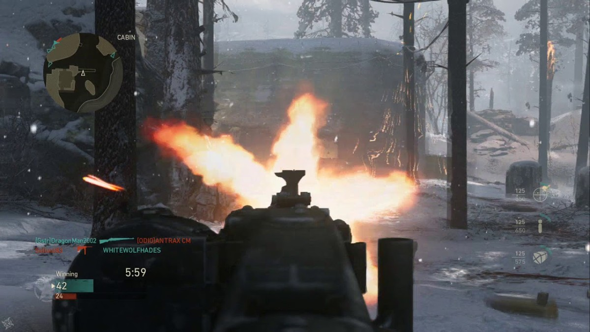 "Screenshot from Call of Duty: WWII multiplayer - the mounted light-machine gun is the deadliest weapon in ""WWII"" online - absolutely no one can escape the mounted light-machine gun - and we MEAN no one"