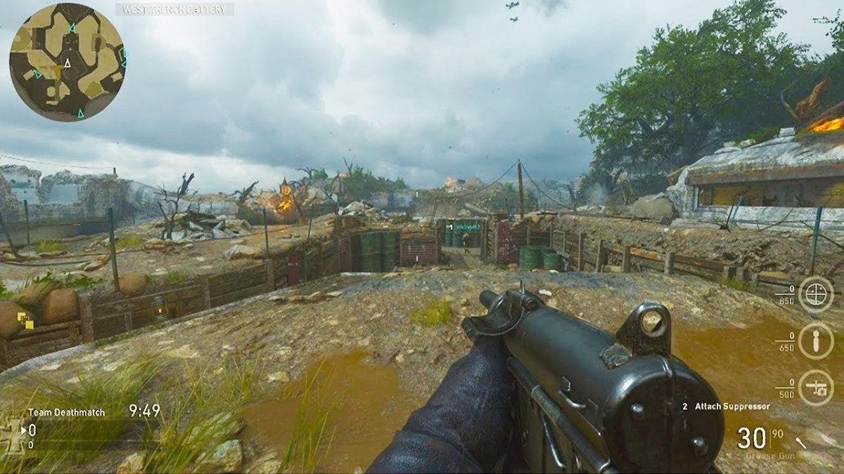 Image screenshot of Call of Duty: WWII multiplayer gameplay - the graphics are a decades-worth better than World at War's - and now there is the definitive World War 2 era video-game for the 2010's