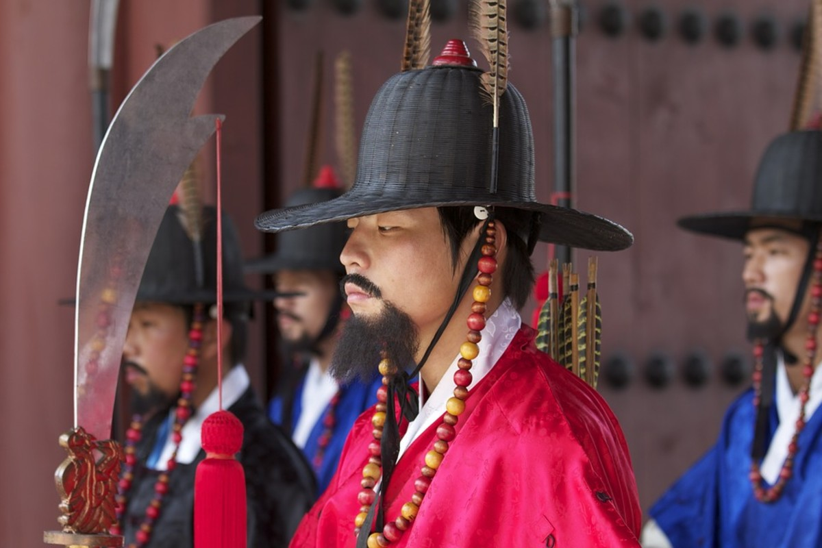 Korean guards in traditional costumes