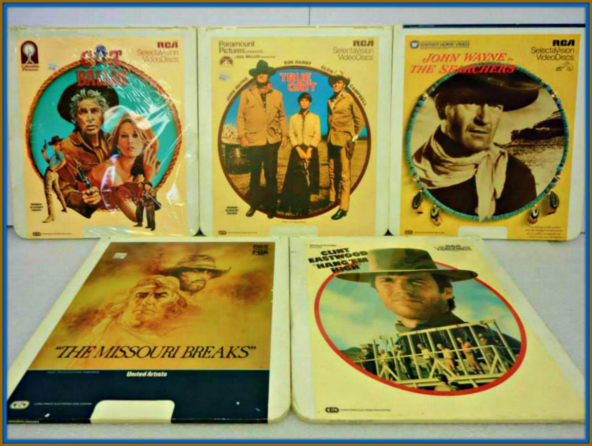 Five Great Western Classic Videos on RCA SelectaVision CED, The Searchers, Cat Ballou, True Grit, Hangem' High, Missouri Breaks John Wayne, Clint Eastwood, Lee Marvin, Jane Fonda, Marlin Brando, Jack Nicholson