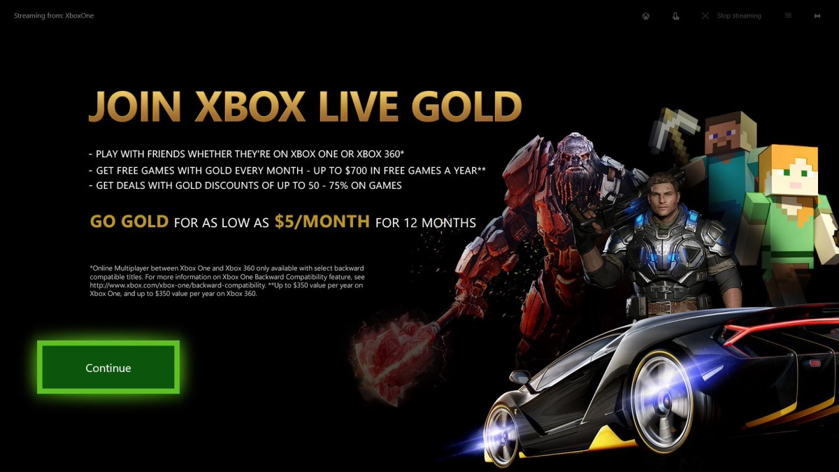 "A screen prompting you to join Xbox Live Gold appears. Click ""Continue."""