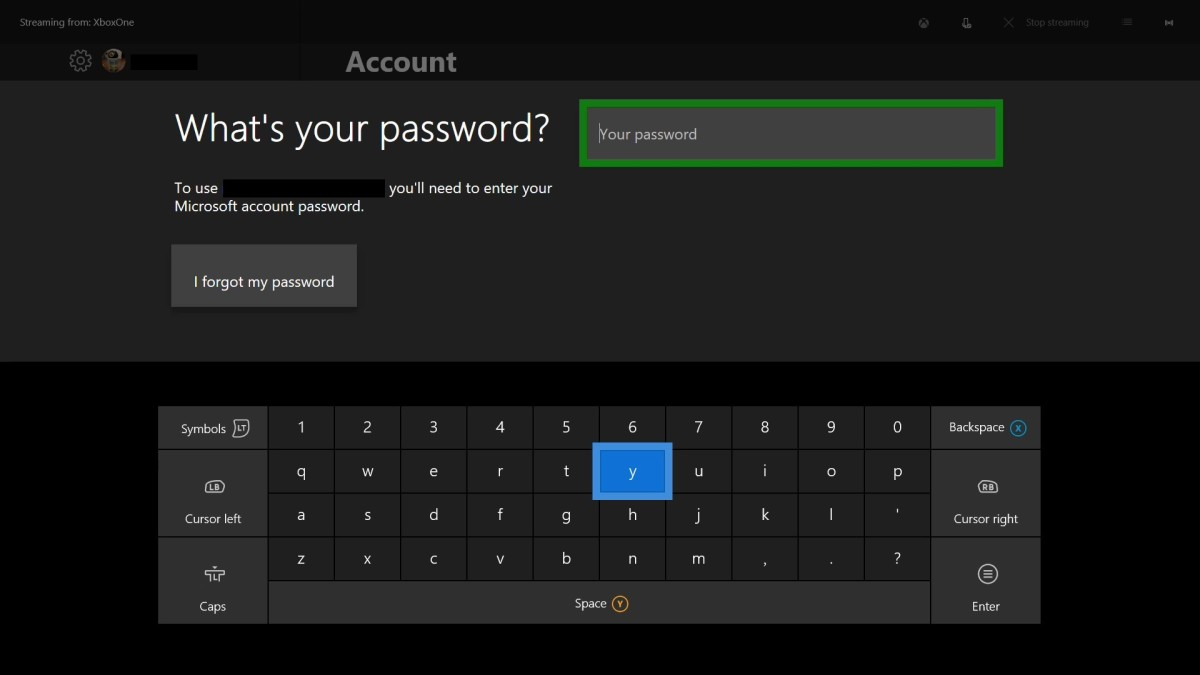 "Enter your password using the onscreen keyboard, and then press ""Start."""
