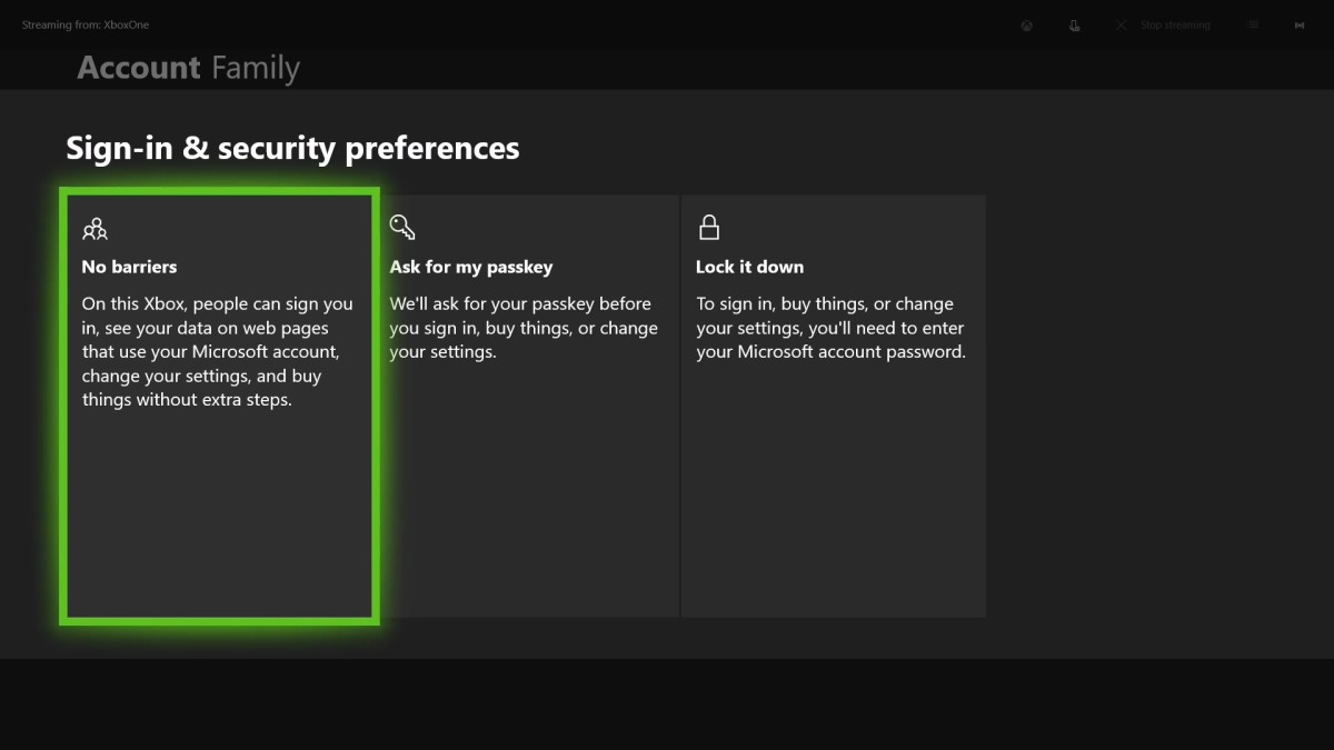 The Sign-in and Security Preferences screen appears. Choose the setting that will work best for your family.