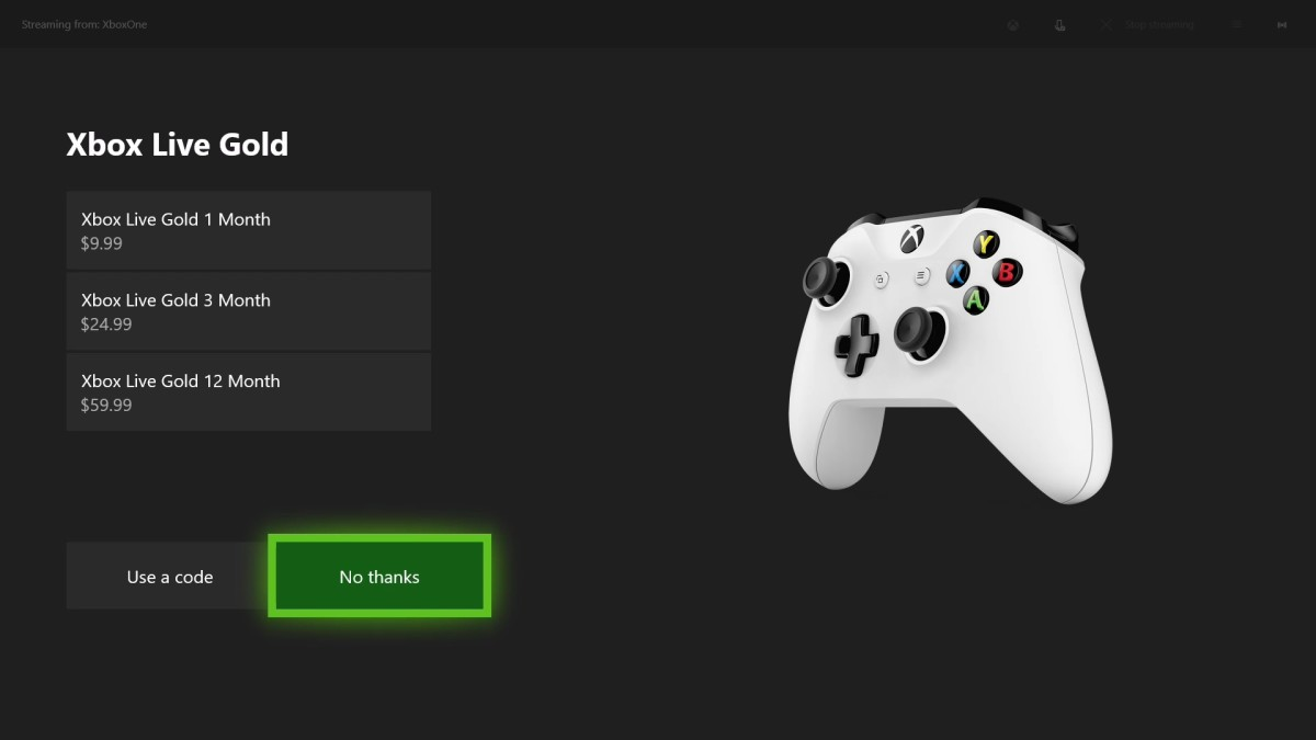 "Another Xbox Live Gold screen appears. If you don't want your child to have an Xbox Live Gold account, choose ""No Thanks."""