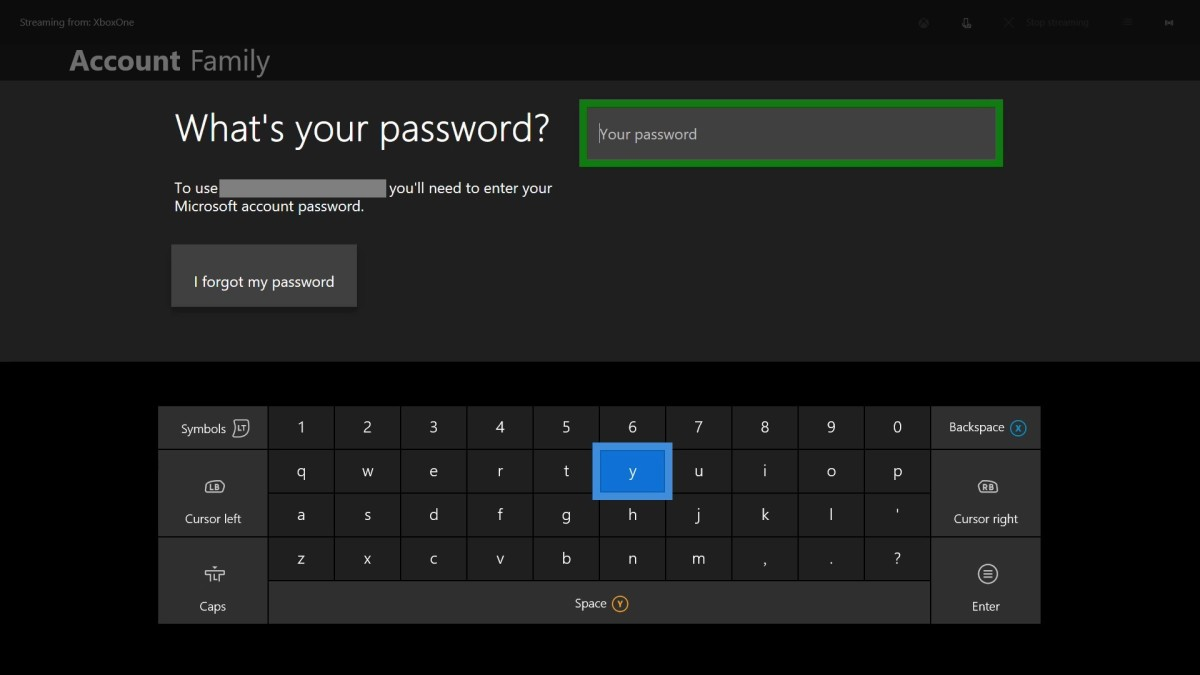 "Enter the password associated with your account, and then press ""Start."""