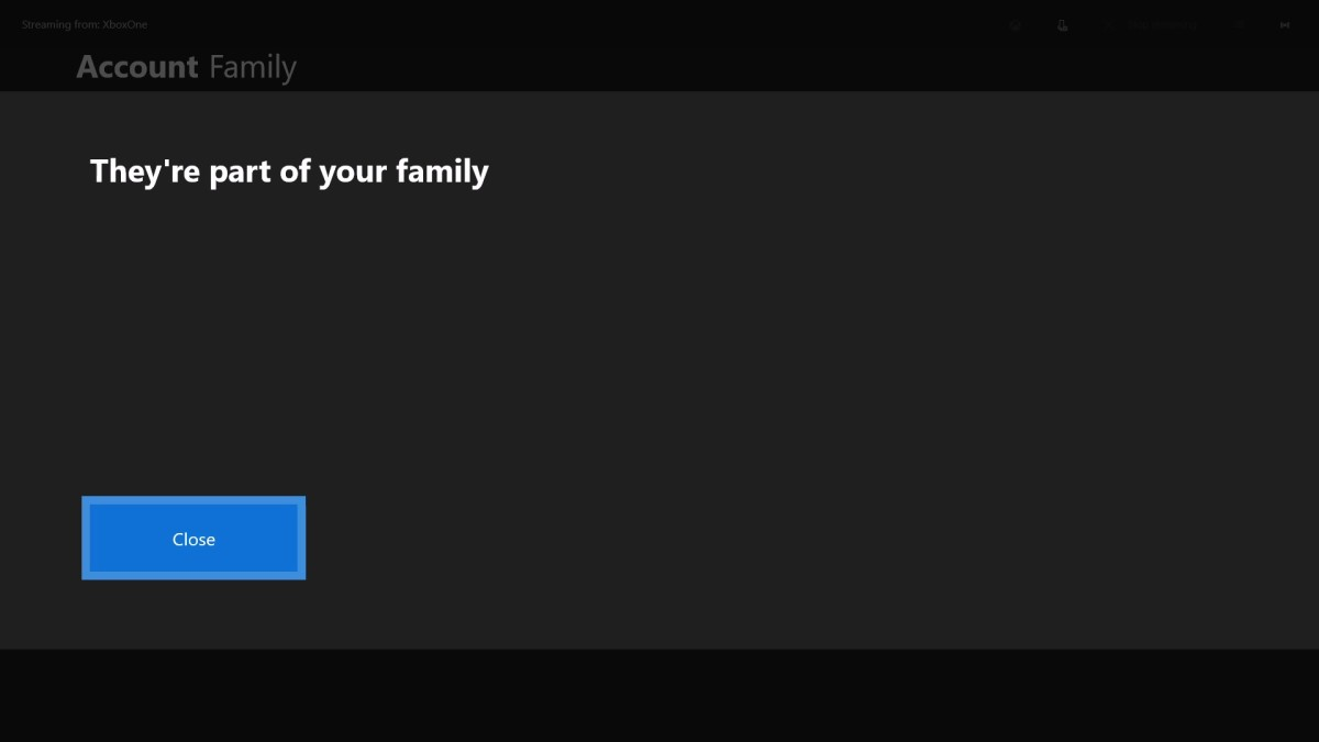 "The They're Part of Your Family screen appears. Click ""Close."""