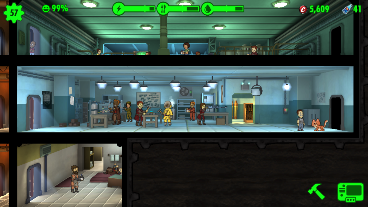 This room is a Weapon Workshop, where Dwellers are crafting an Enhanced Combat Rifle, which uses the Endurance Stat.