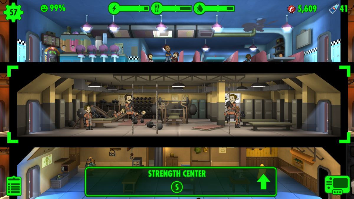 A fully upgraded gym, also known as a Strength Center, which allows your Dwellers to drain their Strength skill efficiently.