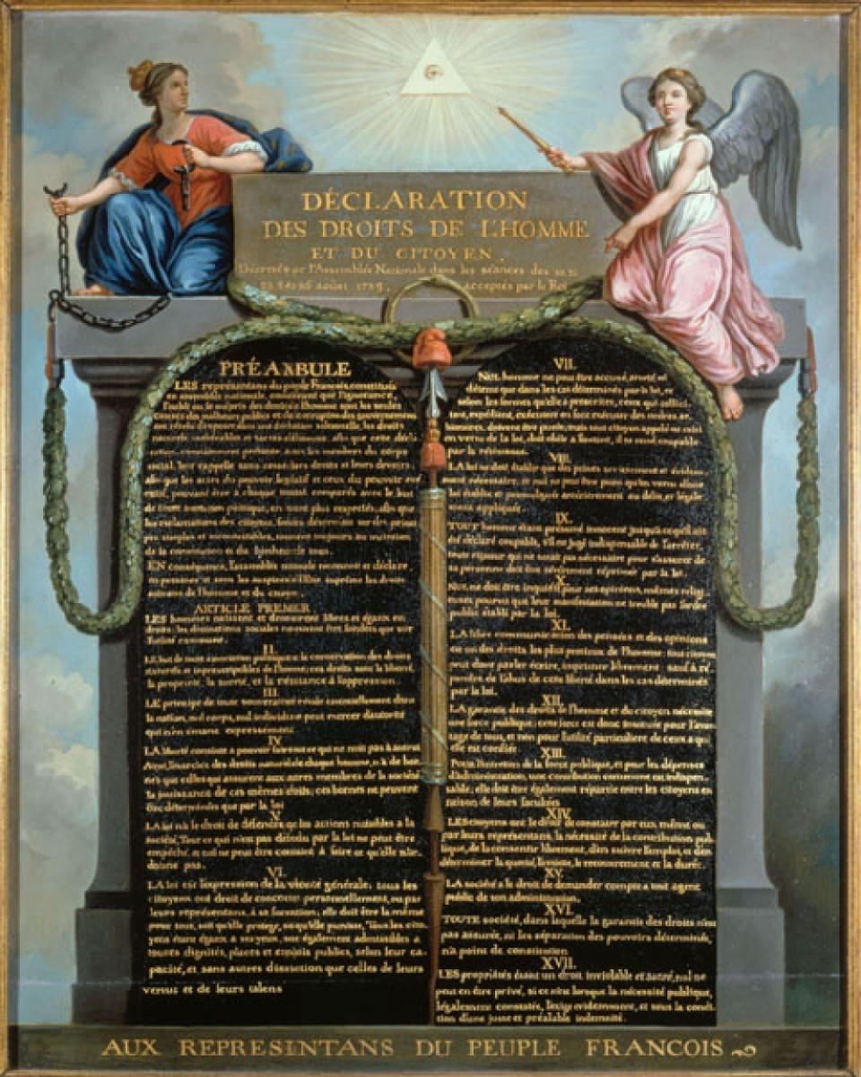 La déclaration des droits de l'homme et du citoyen - a superb expression of the Enlightenment ideal of natural rights.