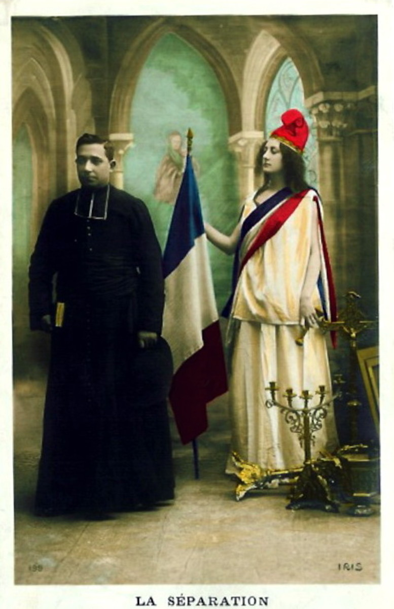 This is an allegorical painting of the separation of Church and State in France after the 1905 law on religion and education : it fits perfectly into the views of Enlightenment philosophers on the Church.